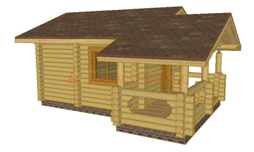 Проект №100, баня 6.5х5.62, общая площадь 24.8 кв.м. (диаметр бревна 220)