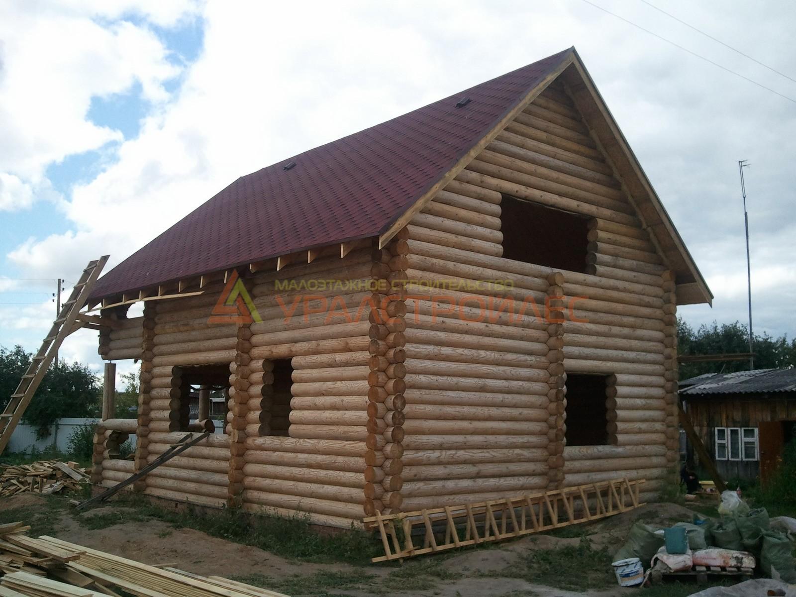 Проект №14, двухэтажная баня 6.9х5.4 (диаметр бревна 240)