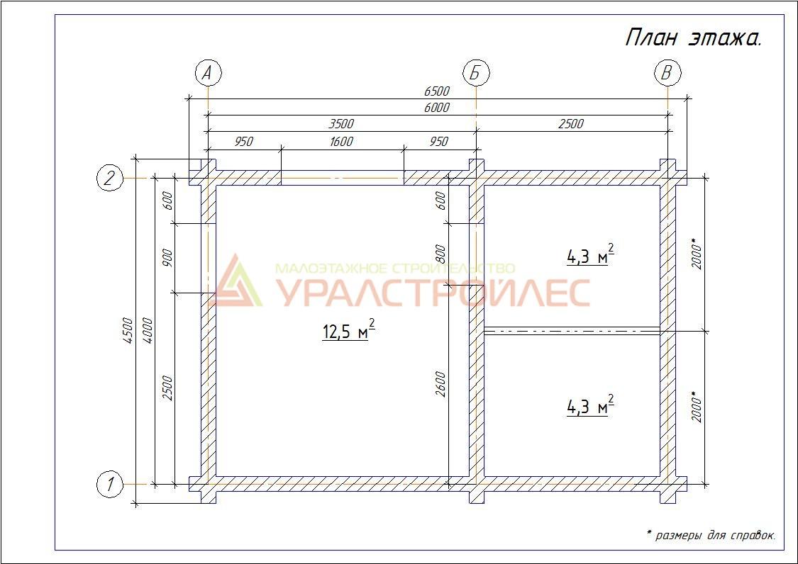 Проект №140, баня 6х4.5, общая площадь 21,1 кв.м. (диаметр бревна 200)