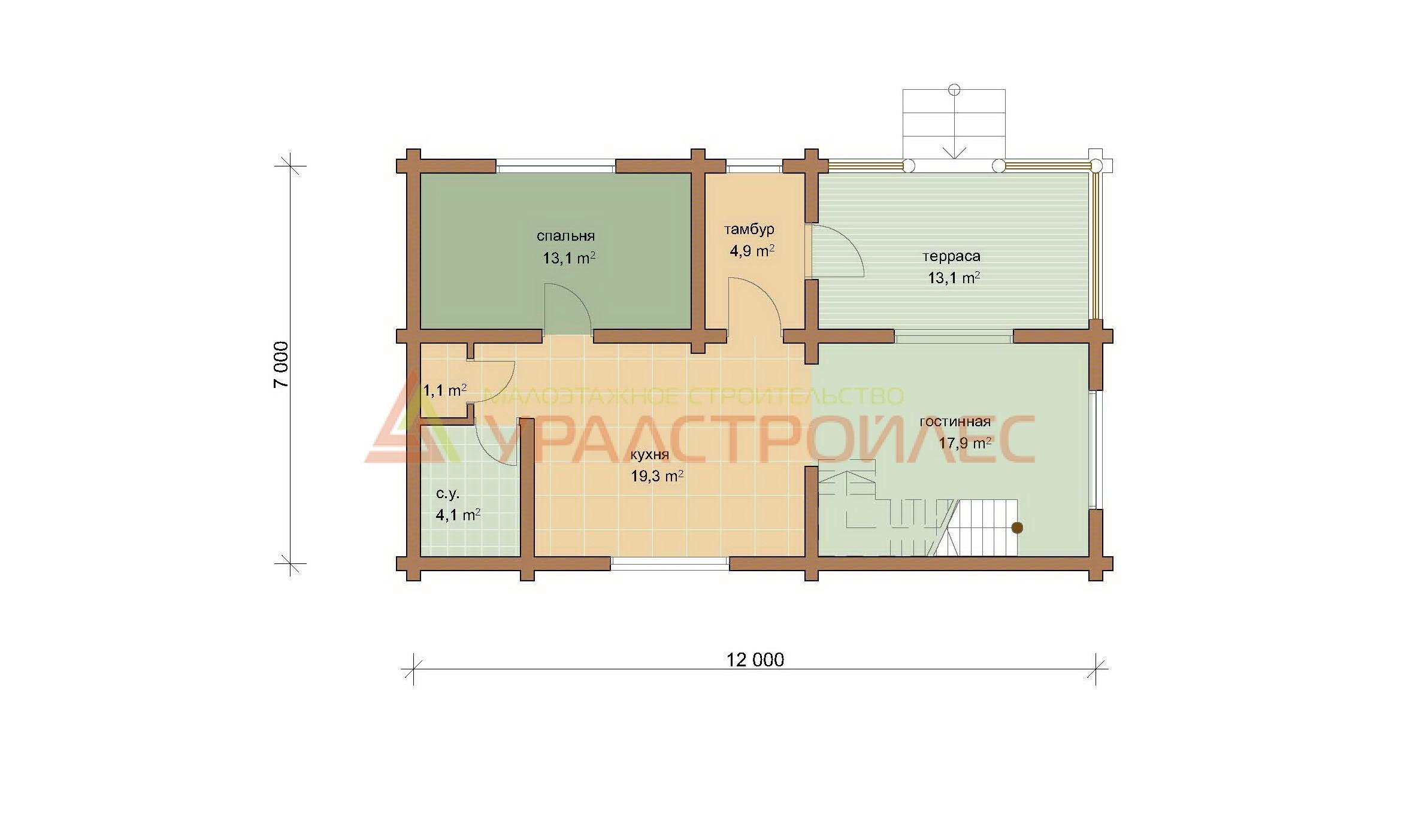 Проект №317, двухэтажный дом 12х7, общая площадь 121.1 кв.м. (240)
