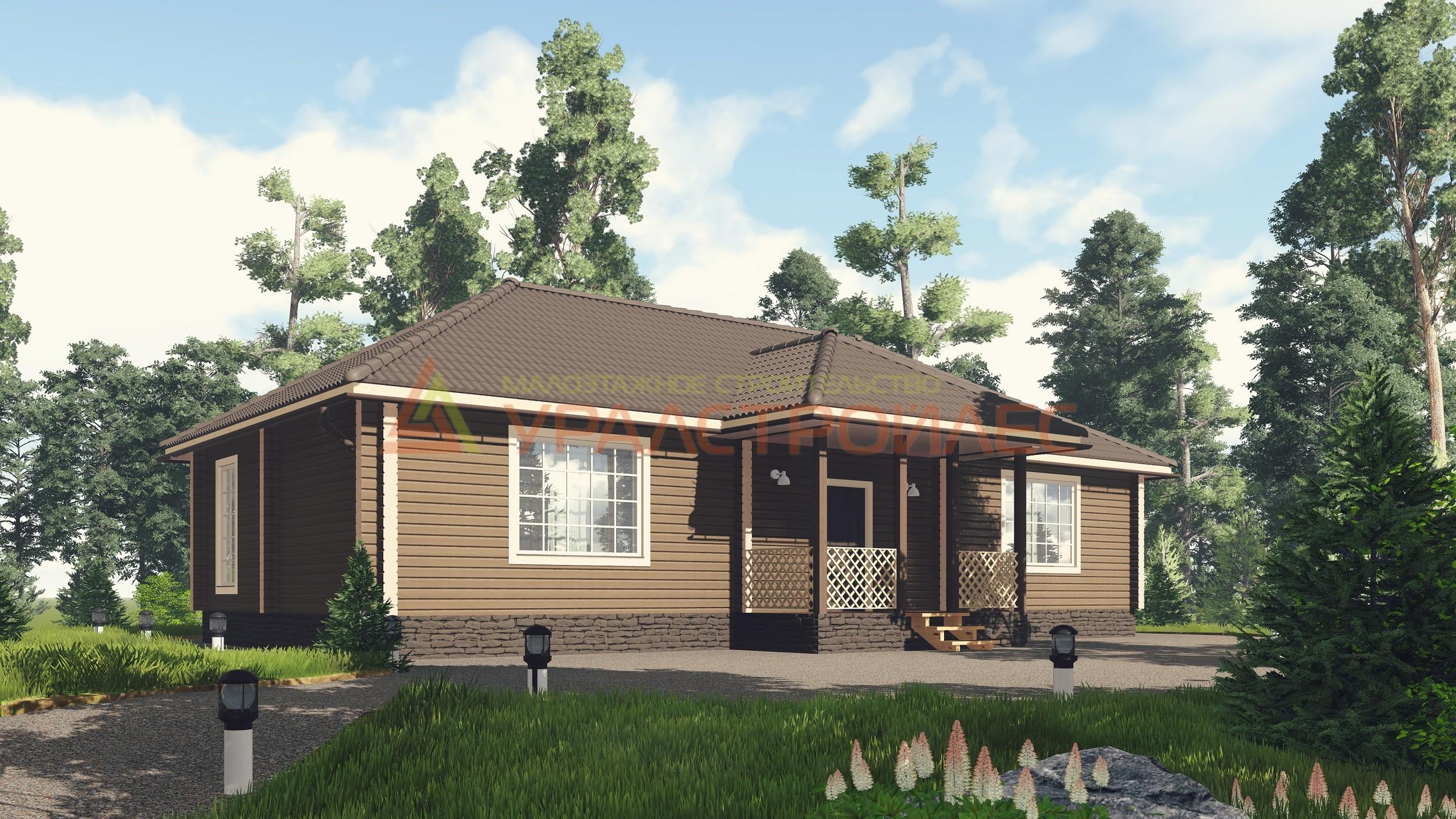 Проект № 735 Дом одноэтажный  15.87х9.84 (Брус 140х190), 125.0 м. кв.