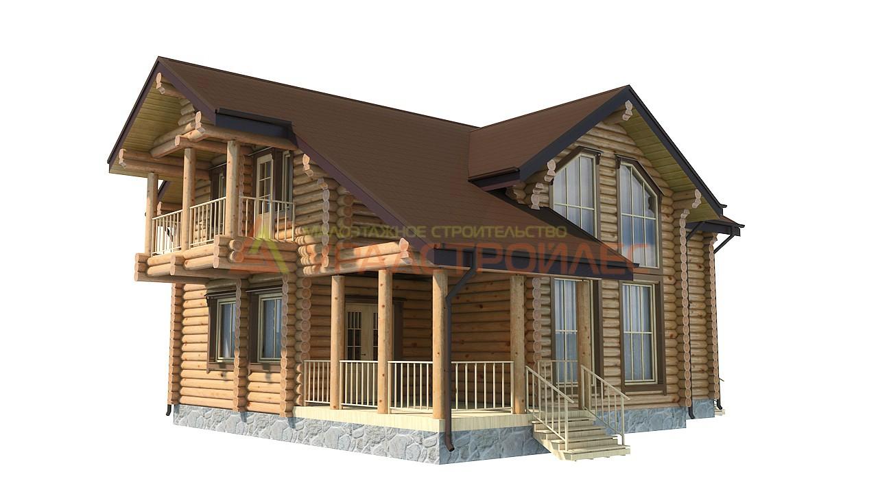 Проект №663, двухэтажный дом 13.5х11.4, общая площадь 182 кв.м. (диаметр бревна 240)