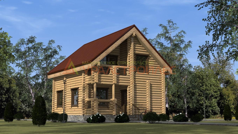 Проект №255, двухэтажный дом 8.7х7, 103 кв.м (бревно 240)