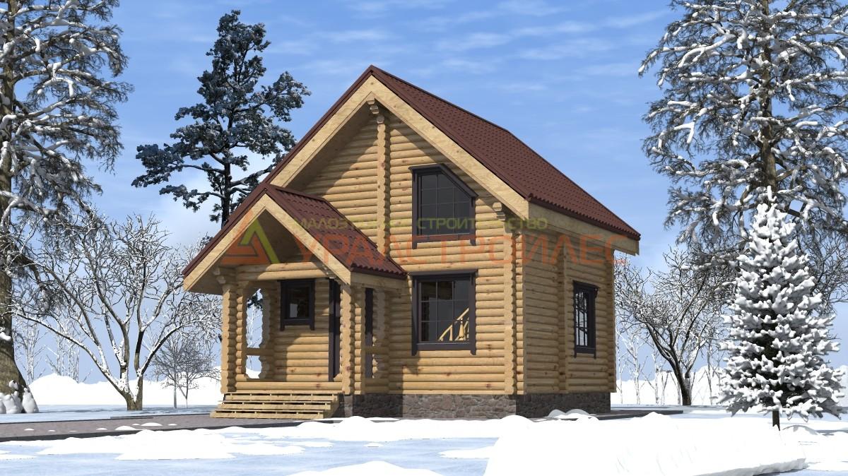 Проект №200, двухэтажный дом 7.5х6, общая площадь 69 кв.м. (диаметр бревна 200)