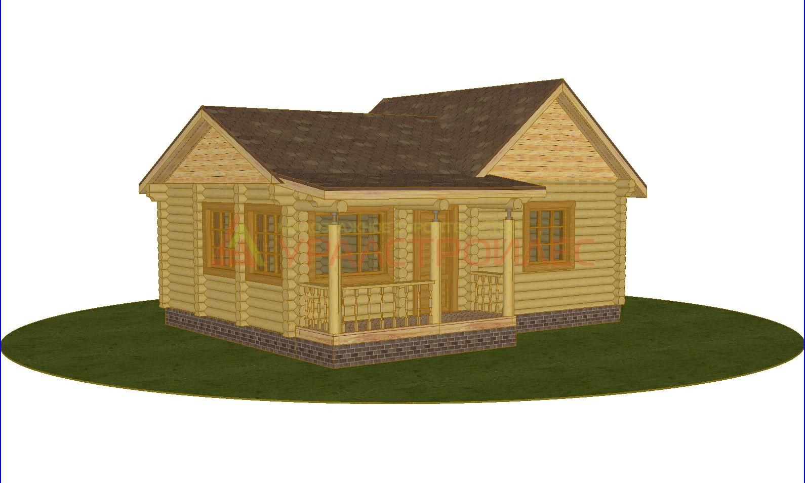 Проект №245, баня 8.4х6.95, общая площадь 47.2 кв.м. (диаметр бревна 220)