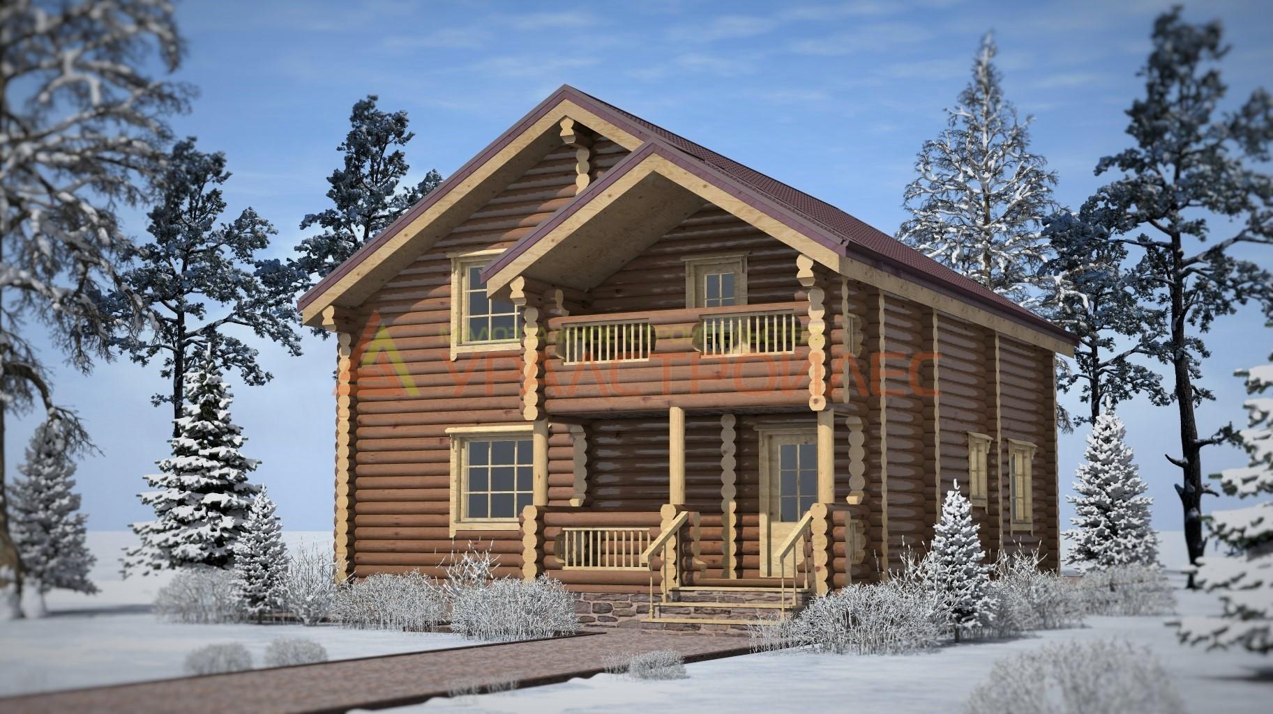 Проект №260, двухэтажный дом 13.5х9, общая площадь177 кв.м (диаметр бревна 240)