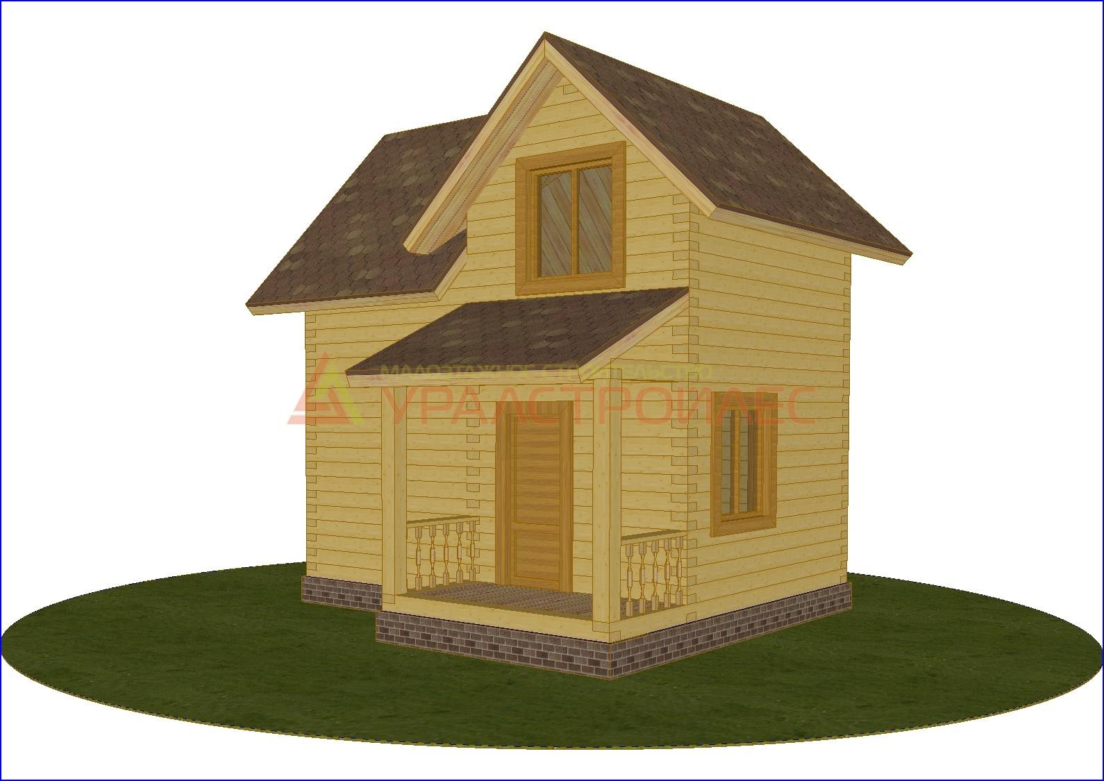 Проект №273, двухэтажный дом 5.8х5.5, общая площадь 43.6 кв.м. (брус 200)