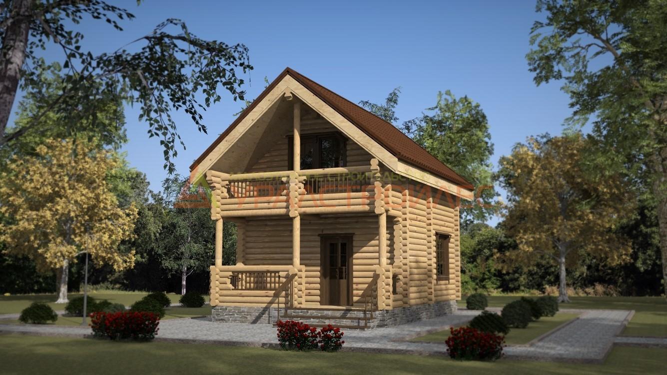 Проект №276, двухэтажный  дом 8х6, общая площадь 74.4 кв.м. (диаметр бревна 220)