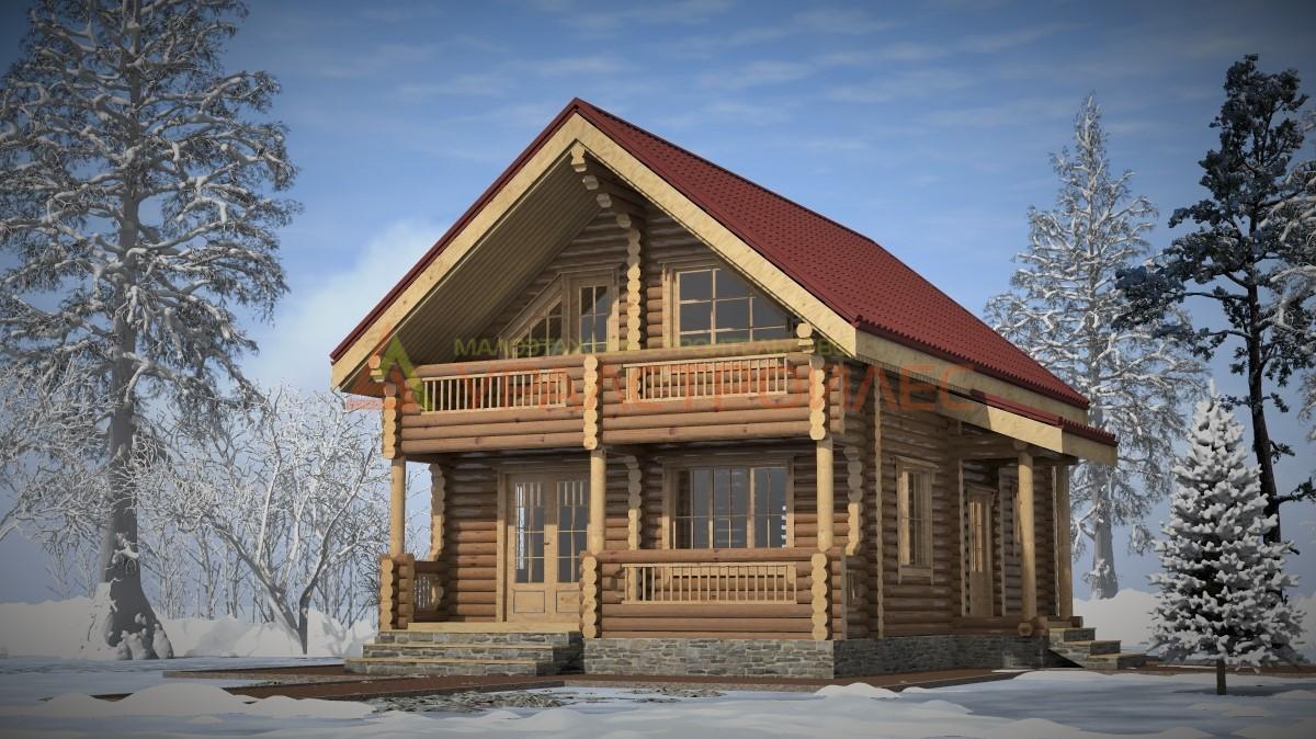Проект №286, двухэтажный дом 8.5х7, общая площадь 128.8 кв.м.(диаметр бревна 220)