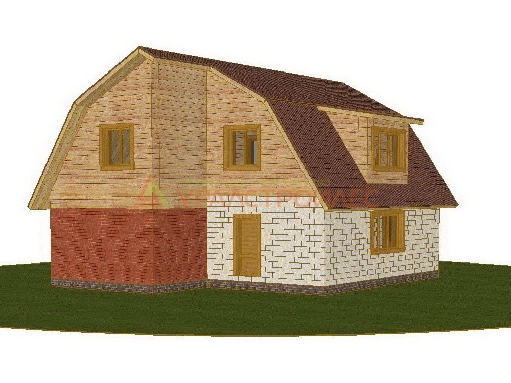 Проект №307, двухэтажный дом 12.2х9.94, общая площадь 118 кв.м. (материал блок 190х390х188 мм)
