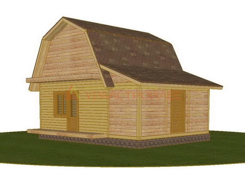 Проект №318, двухэтажный дом 7.85х5.85, общая площадь 42.1 кв.м. (брус150)