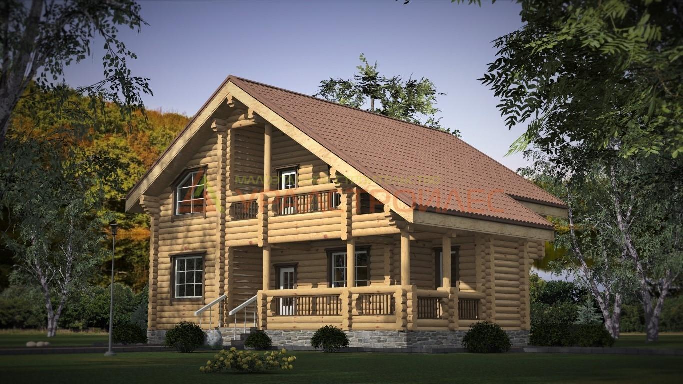 Проект №348, двухэтажный дом 11х10.7, площадь 165 кв.м. (диаметр бревна 240)