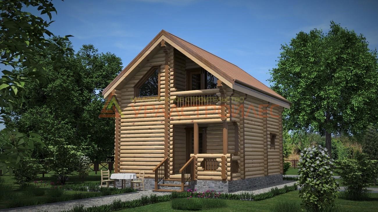 Проект №359 двухэтажный дом-баня 7.68х5,68, общая площадь 74.8 кв.м. (диаметр бревна 220)