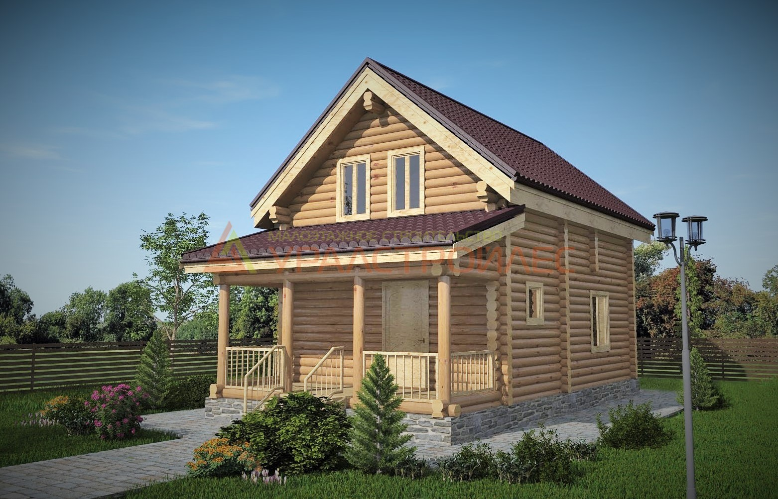 Проект №360, двухэтажный дом 8х7, 86 кв.м. (диаметр бревна 220)