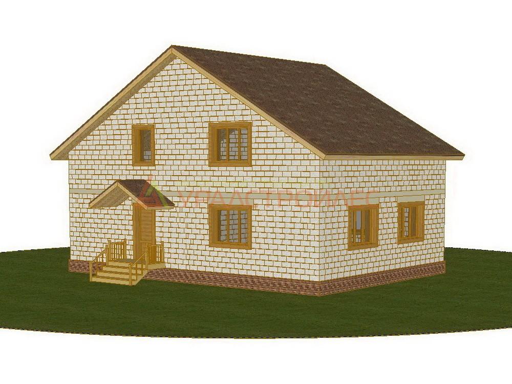 Проект №372, двуэтажный блочный дом 12.35х8.76, общая площадь 188.1 кв.м. (блок 190х390х188Н)