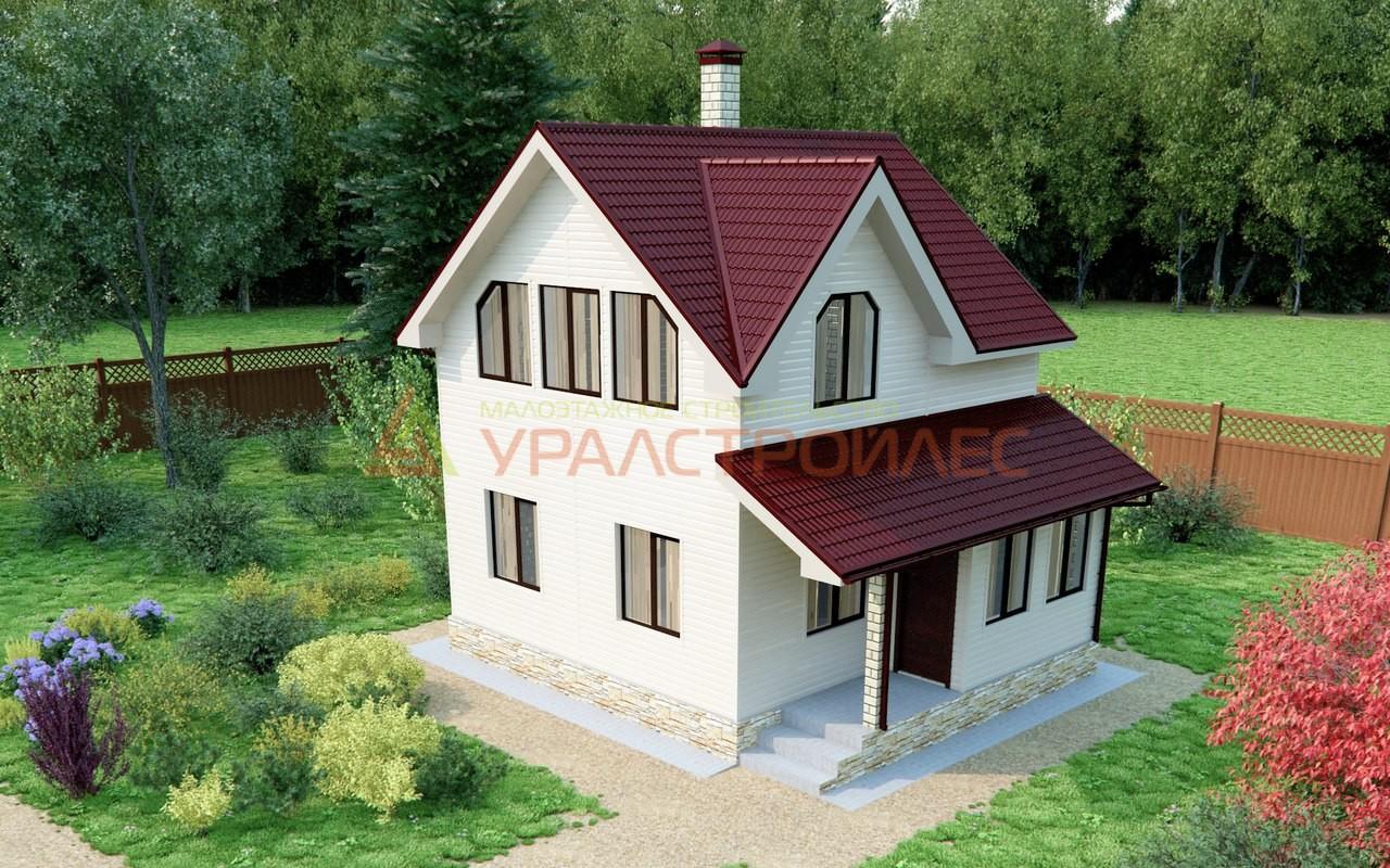Проект №392, двуэтажный блочный дом 7.5х6, общая площадь 71.3 кв.м.