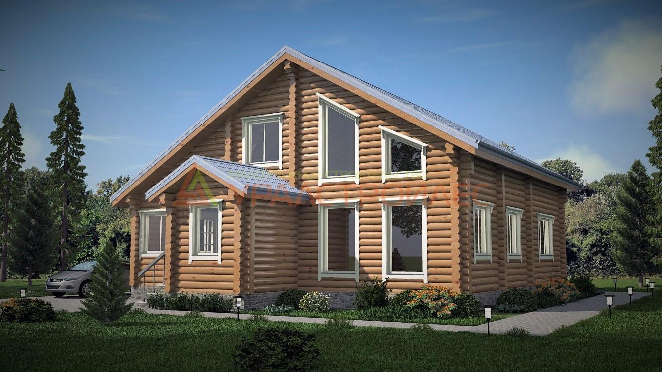 Проект №393, двухэтажный дом 12.65х11.65, площадь 205.1 кв.м. (диаметр бревна 240)