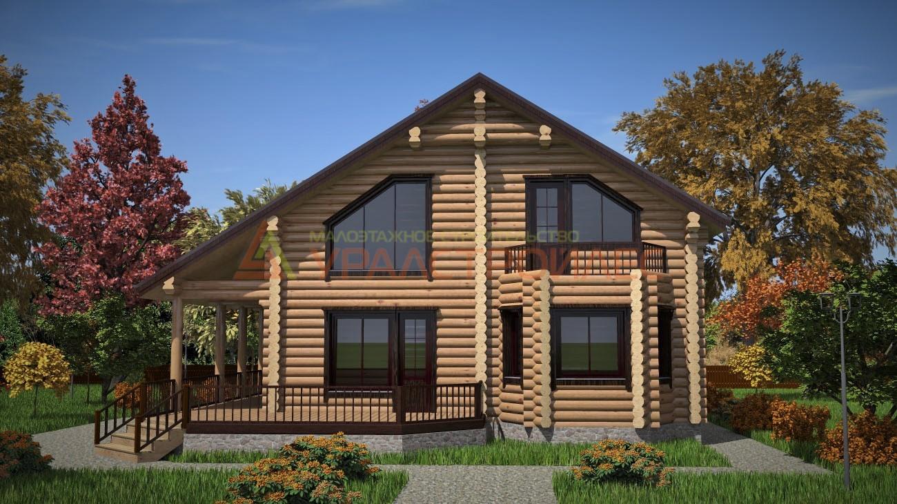 Проект № 585  Двухэтажный дом 12х13.7 (диаметр бревна 260)