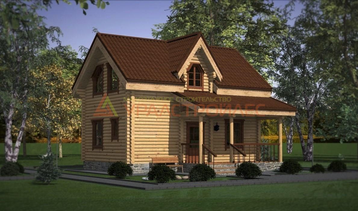 Проект №420 двухэтажный дом, общая площадь 93.5 (диаметр бревна 200)