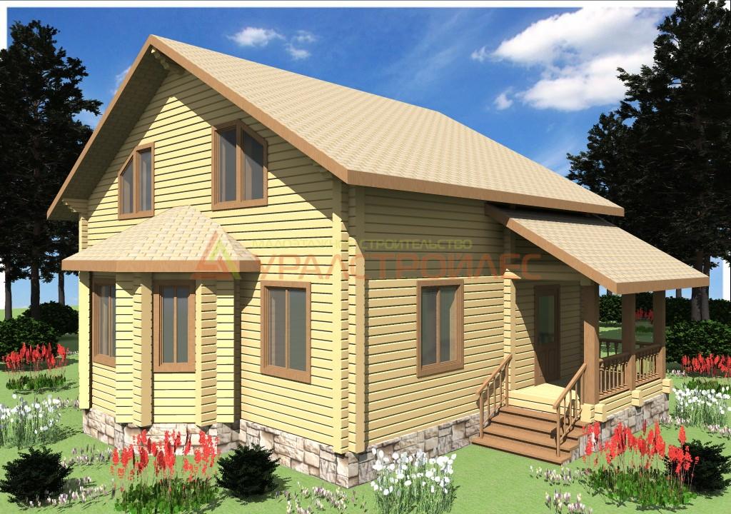 Проект №488, дом двухэтажный, общая площадь 147,6 кв.м, брус 200х200