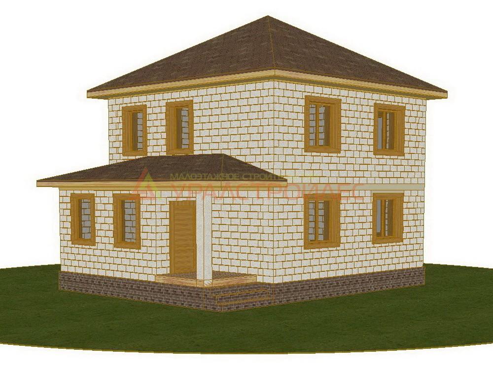 Проект №505, дом двухэтажный, общая площадь 93.8 кв.м., блочный