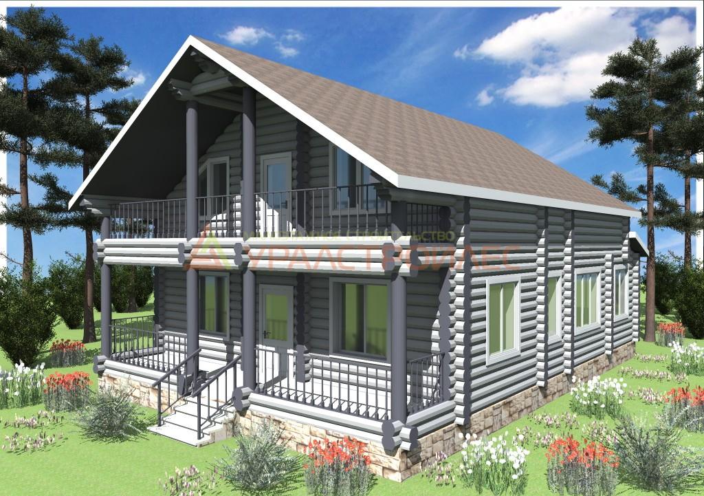 Проект №530, двухэтажный дом, общая площадь 206.1 кв.м. (диаметр бревна 300)