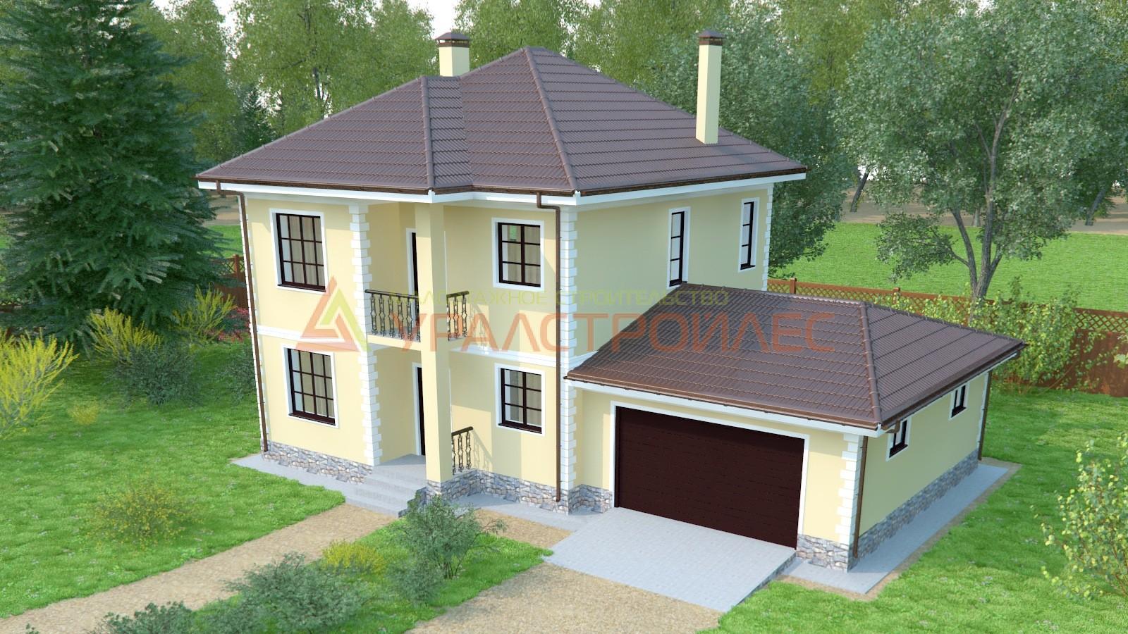 Проект №536, дом двухэтажный, общая площадь 178.6 кв.м., блочный