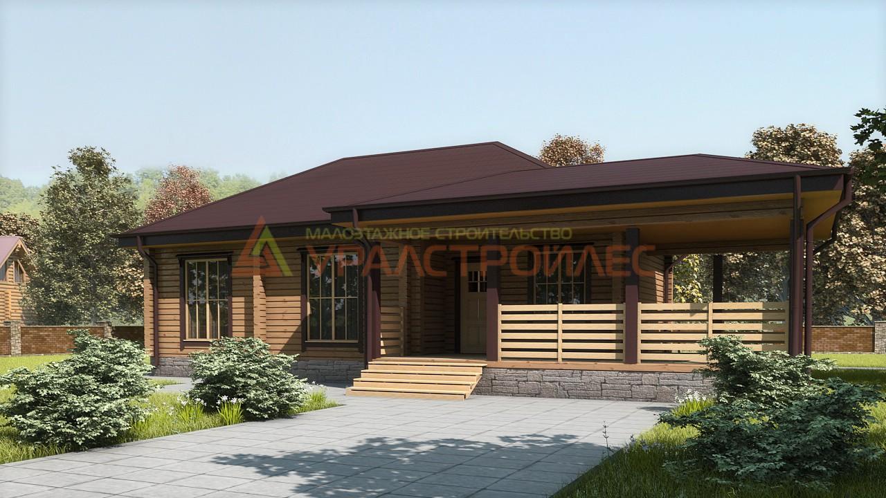 Проект № 622.3 Дом одно этажный 14.7х8.3  (Брус 140х190), 94.3 м. кв