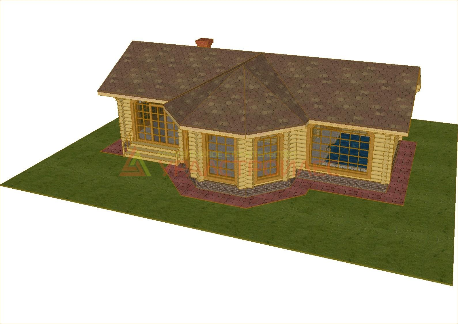 Проект № 652  Баня одна  этажная с бассейном  13х9 (Бревно д 220) 73.7 м. кв.