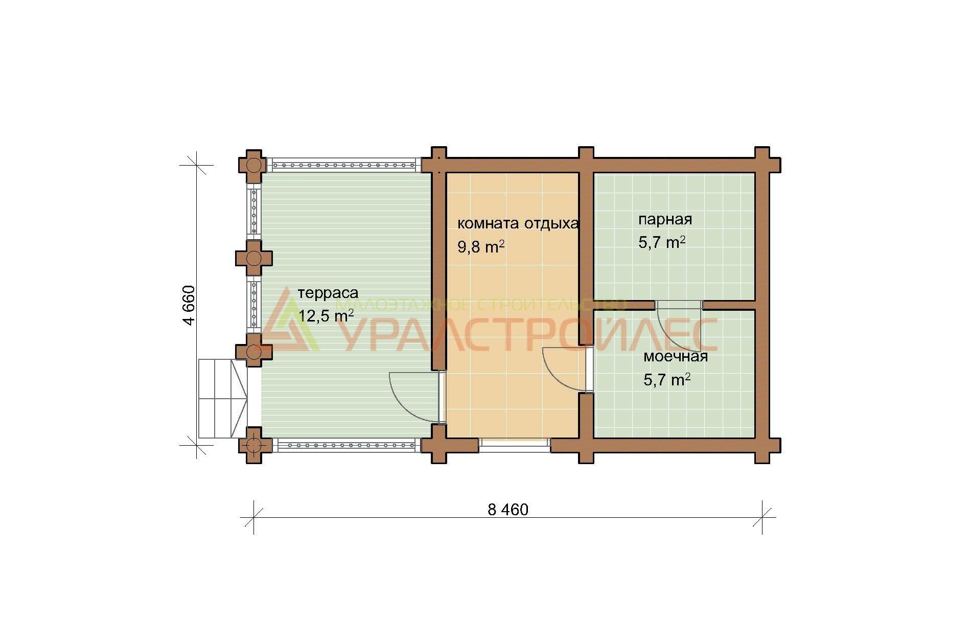 Проект №474, баня, общая площадь 34.6 кв.м. (диаметр бревна 240)